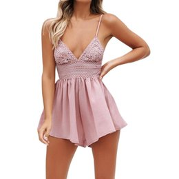 bb09becabc26 Elegant Summer Rompers For Women Fashion Bowknot Backless Beach Jumpsuit  Ladies Sexy Sleeveless V-Neck Lace Playsuit Shorts  JO
