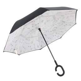 China Ceiourich Double Layer Inverted Car Long Umbrella Reverse Rainy Car Umbrellas with C-shaped Handle Reverse Umbrella-001 supplier green car shape suppliers