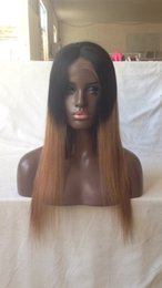 Hair Color Australia - Virgin brazilian staight ombre full lace wigs human hair glueless two tone color lace front wig #1b #30 color for black women