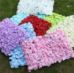 White Pink Mix Rose Flower Australia - Artificial Rose Hydrangea Mix Silk Flowers Wall for Banquet Decorative Wedding Dance Costume Backdrop Flower Wall