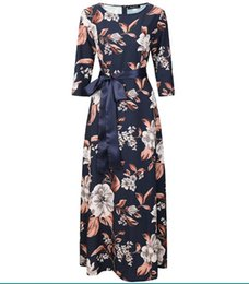 long sleeve maxi dresses Australia - New arrival Fall 2018 European and American women's fashion Long Dress round neck Mid sleeve print dress