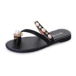 f38c0422e4426 feet tights sandals and slippers women's open-toed pearls rhinestone flat  word fashion cozy slippers