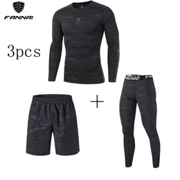 Sports Compression Shorts Australia - Men's 3 Pcs Compression Running Suits Prevent Sport Injuri Clothes Sports Set Shorts and Pants Joggers Gym Fitness Tights Sets