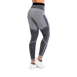 $enCountryForm.capitalKeyWord NZ - Female patchwork yoga leggings gray ladies yoga pants Large size night running sweatpants Academia Mulher Y-NEW