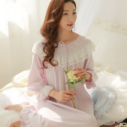 163d08599e Womens Long Nightgowns Long Sleeve Elegant Ruffled Lace Nightgowns Home  Dress For Sleeping Ladies Sleepwear Nightdress