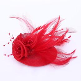 rhinestone ladies hair accessories 2019 - air feather accessories 2018 Women blue feather hair accessories fascinators nice rhinestone decoration ladies wedding p