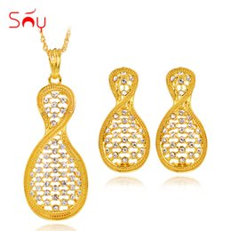 $enCountryForm.capitalKeyWord UK - Sunny Jewelry Ethnic Jewelry Sets For Women Necklace Earrings Pendant Egg Shape Sets For Party Birthday Gifts