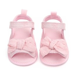 Baby Girl Summer Canvas Shoes Australia - Summer Baby Girl Shoes Soft Sole Anti-slip Bow-knot Crib Shoes First Walkers Princess Canvas Sneakers