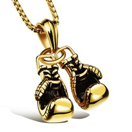 Boxing fists online shopping - New fitness sports accessories boxing gloves necklace colors double fist boxing gloves titanium steel necklace titanium pendant necklace