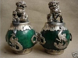 China A Pair CHINESE PAIR OF Tibet SILVER DRAGON Green JADE Foo dog STATUE Lion 2pcs Garden Decoration BRASS cheap silver curtain fabric suppliers
