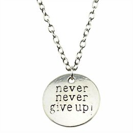 $enCountryForm.capitalKeyWord Australia - WYSIWYG 5 Pieces Metal Chain Necklaces Pendants Pendant Necklace Women Never Never Give Up 20mm N2-B10384