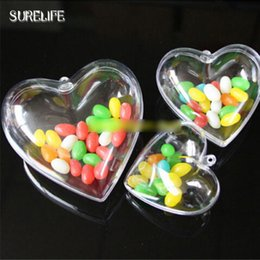 Discount ball box plastic - 30pcs Heart Ornament Clear Plastic Heart Gift Candy Ball Box for Christmas Party Decorations 65mm 80mm