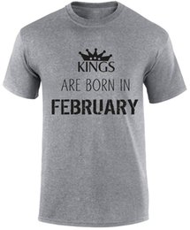 Birthday Party T Shirts Australia - Kings are born in February Birthday Month of Birth Royalty Party Slogan T Shirt