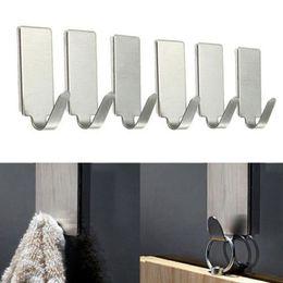 $enCountryForm.capitalKeyWord Australia - 6pcs Adhesive Stainless Steel Hooks For Hanging Family Robe Towel Hanging Hooks Bag Handbag Holder Hats Bag Key Wall Hanger