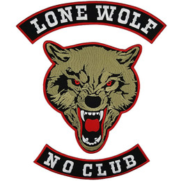 Bikers Back Patches Australia - LONE WOLF NO CLUB Embroidery Patch for Clothing Full Back Large Pattern Motorcycle Club For Rocker Biker Punk MC Patches Free Shipping