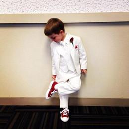 Royal Performance Suits Australia - White boy suit three-piece suit (coat + pants + vest) suit party birthday party dress performance show dress