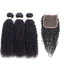 $enCountryForm.capitalKeyWord Australia - Peruvian Human Hair Bundles with Closure Kinky Curly Hair 3 Bundles with 4x4 Closure 100% Unprocessed Virgin Human Hair Lace Closure
