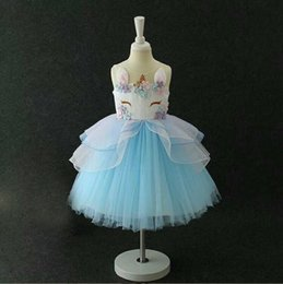 d6604dd88711 Pastel Rainbow flower Girls Unicorn Tutu Dress Flowers Princess Birthday Unicorn  Party Dresses Kids Halloween Unicorn Costume 2018