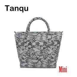 25ceb456a8d1 TANQU мини водонепроницаемый искусственной кожи PU цветочные вставки  внутренний карман плюс ручка сочетание для мини Obag O Сумка женская сумка