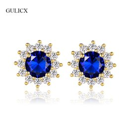 4bb3f6dbe ewelry box ring holders GULICX Fashion Push Back Crystal Flower Earrings  For Women Gold-Color Blue Green White Stone CZ Wedding Earrings .