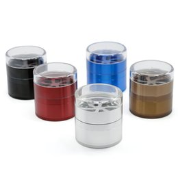 Fan diameter online shopping - Herb Grinder MM diameter part Metal Aluminum Alloy transparent cover shape Fan Grinder Multi Colors