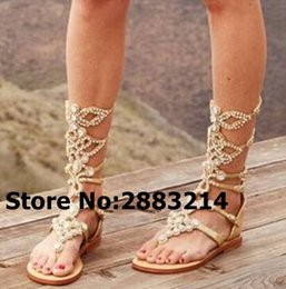 d5f3265dcc2500 Knee High Handmade Women Hollow Out Sandal Boots Rhinestone Gladiator Flats  Long Boots Clip-toe Crystal Embellished Lady