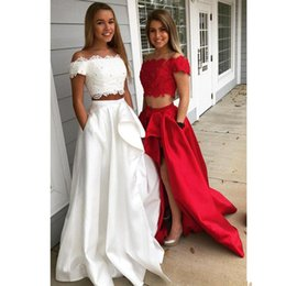 Discount art boat - Two Pieces A Line Prom Dresses With pocket Boat Neck off shoulder Evening Party Dress Front Side Split Homecoming Gown