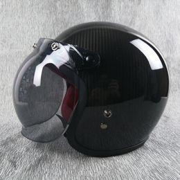 $enCountryForm.capitalKeyWord Australia - VCOROS open face half motorcycle helmet carbon fiber ultralight shell vintage retro moto helmets real leather with red inner pad