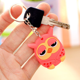 Gold Silver Owl Rings NZ - 1Pcs Cute Cartoon Owl Hello Kitty PVC Key ring Keychain Backpack Accessories Key chains Holder Kid Gift