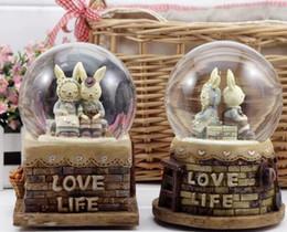 Antique Metal Rabbit Australia - crystal ball music box animation creative prom otional gifts MISS cute rabbit birthday gift box