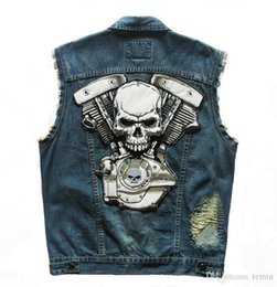 China Wholesale- 2016 new High Quality Brand New Mens Single Breasted Sleeveless Vests Jean Jackets Cowboy Motorcycle Waistcoats Plus Size cheap jean vest mens suppliers