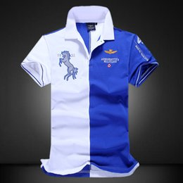 Contrast Collar polo online shopping - Horse Printed Mens Polo Shirts Short Sleeve Tops Turn Down Collar Summer Male Shirt