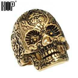 Unique Gold Bands UK - Hip hop Punk Gothic Floral Skeleton Skull Ring Unique Biker Gold Color Titanium Stainless Steel Runes Ring for Men Jewelry