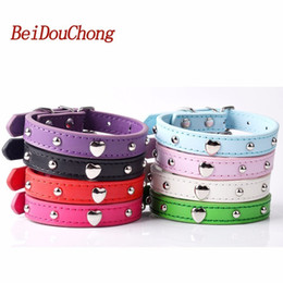 $enCountryForm.capitalKeyWord NZ - Wholesale Pu Leather Dog Collar With Mushroom Heart Studded Puppy Pet Neck Strap For Small Dogs Cats Size S M L