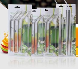 Großhandel 304 Edelstahl Trinkhalme Sets Wiederverwendbare Trinkhalme 4 stücke Strohhalme + 1 stück Reinigungsbürste mit Kleinpaket SN2126