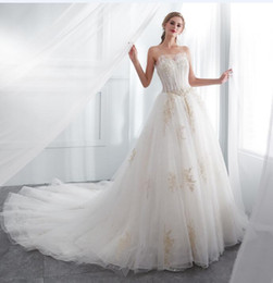 fairy style dresses Australia - 2018 new style In Stock white tulle Wedding Dresses Cheap A-line Sweetheart gold Appliques Wedding Gowns fairy strapless Bridal Dress 50666