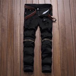 pantalones swag hombres al por mayor-Rojo Blanco Negro Ripped Denim Pant Knee Hole Zipper Biker Jeans Hombres Slim Skinny Destroyed Torn Jean Pants Hip Hop Swag