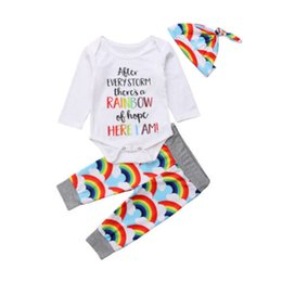 d354cecd86b 3-18M Newborn Infant Kids Baby Girl Cotton Long Sleeve Romper Tops Rainbow  Long Pants Hat Baby Clothes Outfit 3Pcs Set Tracksuit