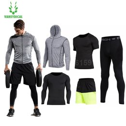 Men Gym Clothes Canada - 2018 Vansydical Mens Sport Suit Running Suits 5pcs Men Gym Clothing Workout Sports Suits Basketball Jersey Training Tracksuits
