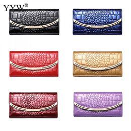 purple gold alloy 2019 - Black Bussiness Women's Purse Genuine Leather Wallet Women Alligator Clutch Bag Lady Large Capacity Long Wallets wi