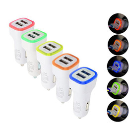 Wholesale 5V A Dual USB Ports Led Light Car Charger Adapter Universal Charing Adapter for iphone Samsung S10 HTC LG Cell phone