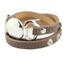 Silver Bracelet Blanks Cuff UK - 2017 Newest Trendy Leather Warp Silver Bracelet for Women Silver Blank Disc Multilayer Cuff Bracelets & Bangles
