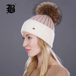 $enCountryForm.capitalKeyWord Australia - [FLB] Winter hat for women knitted wool lady beanies cap natural raccoon fox fur pompom hat Patchwork female casual skullies D18110601