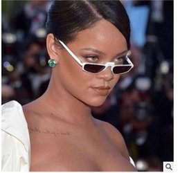 Discount rihanna sunglasses 2018 Special Vintage Rihanna Star Small Sunglasses Brand Designer Lady Glasses Cool Goggles Metal Hinges Top Quality 951