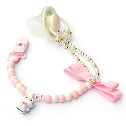Pink Pacifier Clip Canada - Pacifier Clip Holder Chain Baby Nipple Feeding Supplies Baby Toy for Gift Handmade Personalized English letter with Dummy Clips
