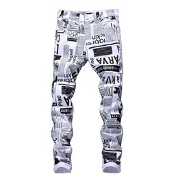 China Mens Designer Pencil Jeans Letter Printed White Denim Pants Fashion Club Clothing for Male Free Shipping Hip Hop Skinny Jeans cheap zippers suppliers