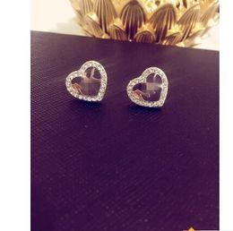 M earrings online shopping - big brand Studded M letter stud earrings m series diamond heart shaped earrings alloy high polished ear nail