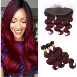ombre hair frontal Canada - 9A Dark Roots Black to 99j Burgundy Body Wave Human Hair Weaves With Lace Frontal Closure 4pcs Lot Ombre Peruvian Virgin Hair Weft