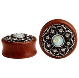 $enCountryForm.capitalKeyWord UK - fashion wood ear plugs fake opal metal ear gauges piercing body jewelry pair selling 2pcs lot expander