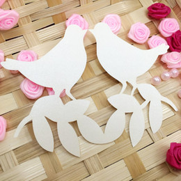 $enCountryForm.capitalKeyWord Australia - Laser Cut Place Cards With Love Pigeons Olive Branch Hollow Paper Name Card For Party Wedding Seating Cards Wedding Reception PC-B53